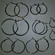 Earring Lot Hoops Gold Silver Tone Small Medium 7 Pairs Pierced Circles Mixed