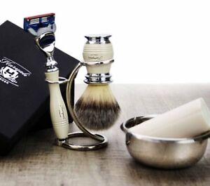 5 Pieces Men's Shaving Set With 5 Edge Razor & Badger Synthetic Brush, Bowl Soap