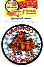 vtg prismatic sticker 70's novelty Haciendo Tocineta MAKIN BACON pigs van biker
