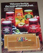 1977 print ad - Kraft Jelly Preserves grape apple strawberry vintage coupon PAGE