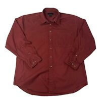 Croft & Borrow Mens Size Large Red/Maroon Long Sleeve Button Front Shirt