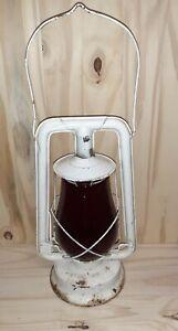 Vintage Embury #210Supreme Railroad Lantern White W/ Red Glass Globe