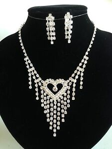 Wedding Bridal Party Rhinestone Crystal Necklace Clip on Earring Bracelet ring