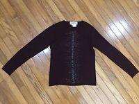 CARLISLE Burgundy Top Blouse Light Sweater Embellished Cashmere Silk Blend Sz M