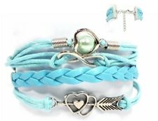 Kunstleder Armband Infinity 2,5cm Blau Silber