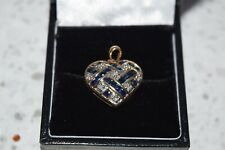 14ct Yellow Gold Clear Stones and Sapphire Pendant