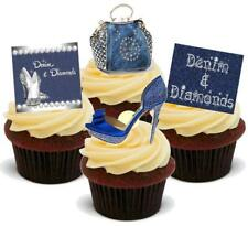 NOVELTY Denim & Diamonds Handbag Shoes Mix 12 STAND UP Edible Cake Toppers