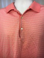 Peter Millar Men's Pink Striped Polo Golf Short Sleeves Tshirt,Large,100% Cotton