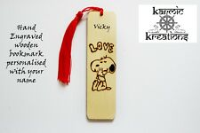 Personalized Engraved Wooden Bookmark, Snoopy Hugs Peanuts,  Love