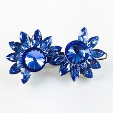 USA Hair Clip use Swarovski Crystal Hairpin barrette WOMENS Blue Sunflower 17