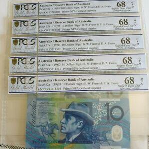 1993 Australia Run of 5 $10 Note 52a Fraser/Evans Blue Dobell UNC 68 PCGS FINEST