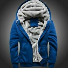 Winter Mens Warm Fleece Lined Jacket Coat Hooded Baseball Sports Outwear S