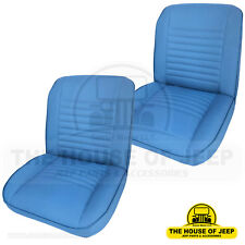 SET FRONT LOW BACK BUCKET SEAT OEM MATERIAL BLUE LEVIS, JEEP CJ5,CJ7 1955-1979