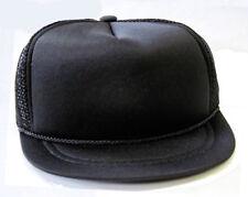 HARD TO FIND - NEW - Baby Infant Trucker Hat - BLACK - Blank Newborn Cap