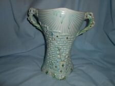 More details for arthur wood garden wall floral relief pottery 2 handle large 23cm green vase