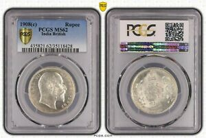 BRITISH INDIA 1908 KING EDWARD VII ONE RUPEE PCGS GRADED WITH MS62 HARD TO FIND