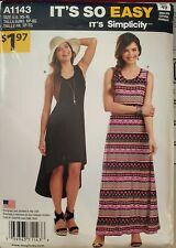 It's So Easy Simplicity pattern A1143 Misses' Knit Dresses size 6 to 24 uncut
