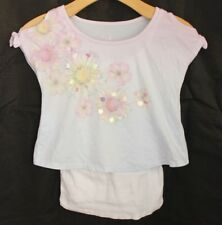 JUSTICE Girls Shirt Size 10 Layered Tank Top Flower Crop Top