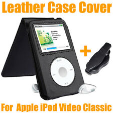 Black PU Leather Case For Apple iPod Video Classic 80G 120G + Movable Belt Clip
