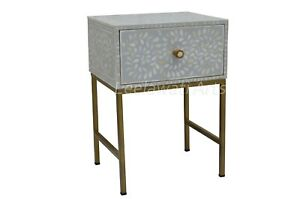 Handmade Bone Inlay Floral Design 1 Drawer Bedside Table End Table Grey Iron Leg