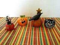 4 Misc. Halloween ornaments: Pumpkins Crows Black Cats Cauldron