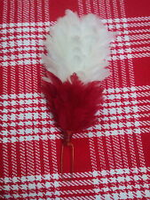"TC Plume Feather Hackle Glengarry Cap Red & White 6""/Balmoral Hats Plume Hackle"