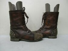 Steve Madden Tarnney Brown Leather Spiked Zip Combat Boots Women Size 6 M