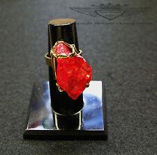 Wunderschöner Ring, 24 Karat (999er) vergoldet, Kristall, Roter Cluster,edel,neu