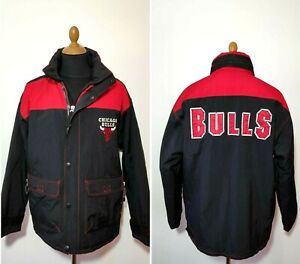 Vintage Chicago Bulls Jacket Champion Size. M Black Red Rare 90s Men's Hooded