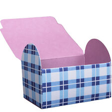 Blue and White Chequered Gift Box x 4 wedding favours chequered multi paper card
