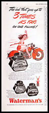 1946 WATERMAN'S Pen INK 1940s Girl in Red Shorts Riding Motorcycle Vtg PRINT AD