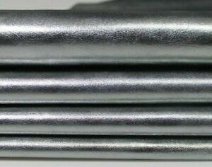 METALLIC CHROME SILVER STEEL rough metallic Goatskin leather skins 3-5sqf 0.8mm