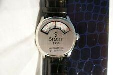 Stauer 1930 Dashtronic Automatic 21 Jewels Jump Hour Men's Watch Black Leather