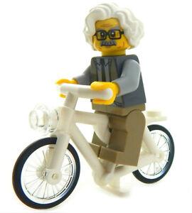 "NEW LEGO ""EINSTEIN on a BIKE"" MINIFIG figure minifigure science albert bicycle"