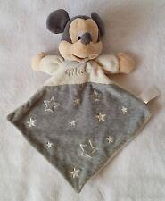 Doudou plat Mickey blanc gris capuche étoiles DISNEY NICOTOY DIS-99