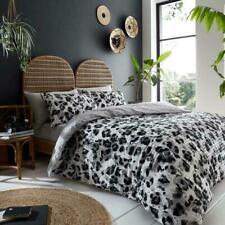 Luxury Seersucker Style Leopard Print Duvet Quilt Cover Bedding Set Grey