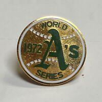 VINTAGE 1972 MLB OAKLAND A'S ATHLETICS WORLD SERIES BASEBALL PRESS PIN - BALFOUR