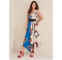 Ankle Skimming Bold Print Hi Lo Hem Midi Dress With Leather Look Sash size 14