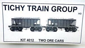 Tichy Train Group HO Scale #4012 ~ TWO 22' WOOD ORE CARS UNBUILT KIT ~ NIB ~T215
