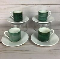 Set of Four Vintage Gien Demitasse Cups and Saucers Mid Century Modern Design