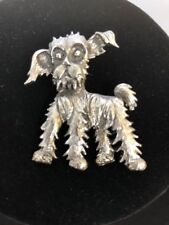 Vintage Silver Tone Dog Brooch Pin E1