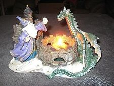 Wizard And Dragon Resin Figurine/Statue with Candle Holder