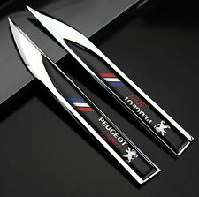 2pcs Auto Car Metal Knife Badge Emblem Decal Sticker For Black  Racing Sports