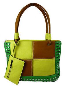 Handtasche groß Nieten Schultertrageriemen Fächer Schlüsseltasche bag H8001-1 WH