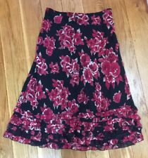 Woman Floral Skirt 14 Ruffle Black Red Rose Lined Calf Long Summer Holiday