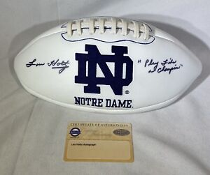 "Lou Holtz signed Notre Dame Logo Football Steiner Coach Inscription ""Play Like.."