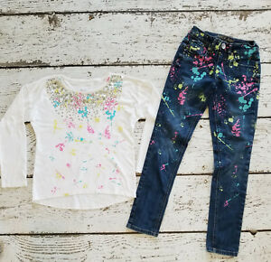 JUSTICE Girls Paint Splatter White Sequin Tee Shirt & Denim Skinny Jeans 8 EUC