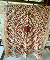 Antique Uzbek Suzani Wall Decor 4x5 ft Authentic Hand Embroidered Linen Tapestry