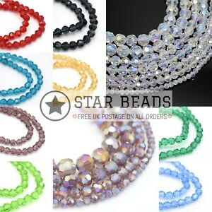 FACETED ROUND GLASS BEADS 4MM,6MM,8MM,10MM FOR JEWELLERY MAKING - PICK COLOUR