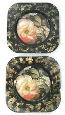 """Lesley Roy Signed Handmade Usa Peony Butterfly Sq 8"""" Black Gold Glass Plates 2pc"""